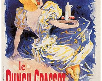 Hand-cut wooden jigsaw puzzle. PUNCH GRASSOT WAITRESS. Art nouveau. Vintage advertisement. Wood, collectible. Bella Puzzles.
