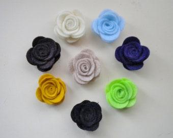 Felt flowers - Set of 10
