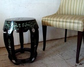 Vintage Chinese Garden Stool with Bird,  End Table, Hollywood Regency End Table Bird Dogwood Flowers Chinoiserie Stool