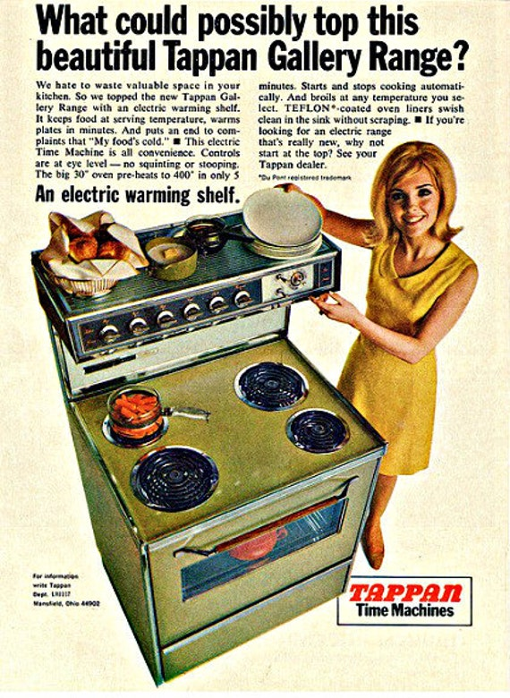 1967 Tappan Time Machine Oven Stove Advertisement - Retro Chic Housewife Mod Mid Century Mad Men Paper Ephemera Kitchen Wall Art Home Decor