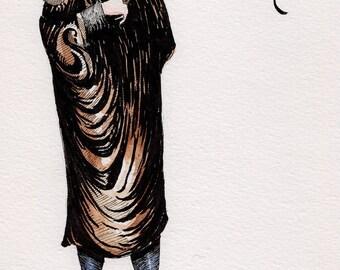erotic art deco illustration original art