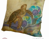 Hand painted silk decorative pillow- Turtle