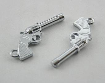 10 pcs.Zinc Silver Magnum Handgun Pistol Charms Pendants Decorations Findings 16 mm. SPG1