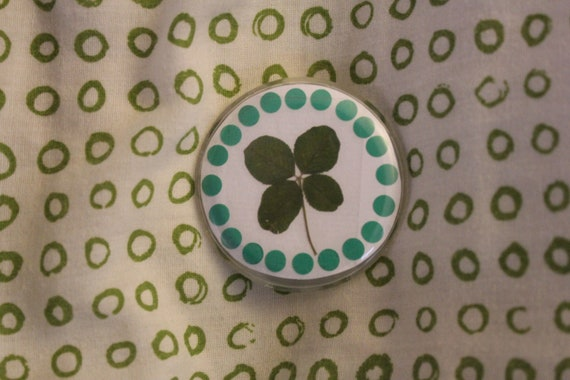 Genuine Real Four Leaf Clover Shamrock Pin.  Your Piece of green for St. Patrick's Day  Irish Good Luck