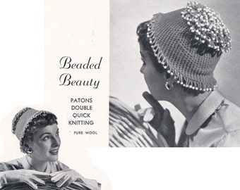40s Womens Hats Scarves Vintage Knitting & Crochet Patterns Booklet Patons 421 ORIGINAL patterns not PDF