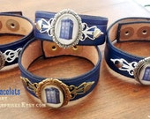 Doctor Who TARDIS - blue leather bracelet, handmade geeky British cosplay