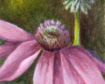Original ACEO Acrylic Painting, Small Floral Still Life Painting, Purple and Green Flower Home Decor