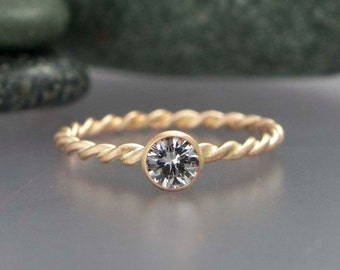 Gold Rope Engagement Ring -  Choice of White Sapphire, Moissanite or Diamond in Solid 14k Gold Twist Band and Tapered Bezel