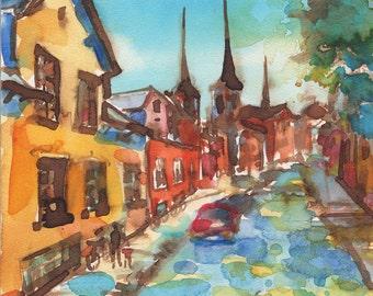Roskilde Denmark European Street Scene Watercolor Painting Signed Giclee Print