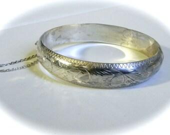 Vintage Bracelet 60s Sterling silver Carved Hinged Bangle Bracelet  LC - on sale