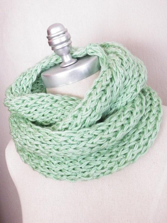 light mint green scarf infinity scarf knit by jamiesierraknits