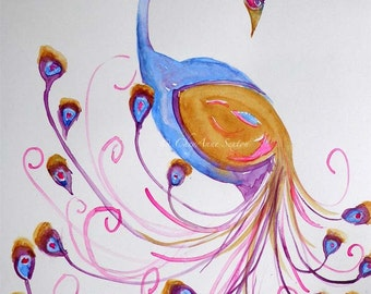 Peacock Sweet pink and gold - ORIGINAL on SALE watercolour painting 9x12
