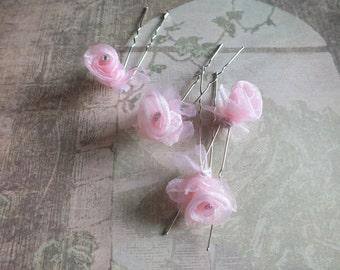 Pink Bridal Hair Pins Wedding Veil Alternative