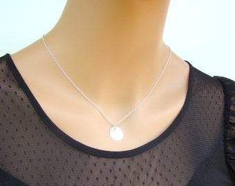 Sale Sterling Silver Necklace - Round Pendant - Modern Jewelry - Available in Gold