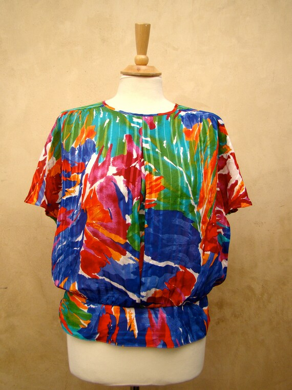 Zinc Watercolor Flutter Sleeve Blouse 55
