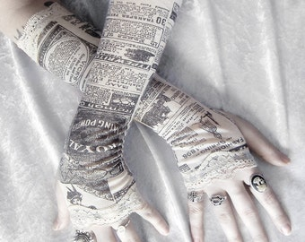 Gossip Society Arm Warmers | Victorian Newspaper Print | Ivory Cream Black & Lace | Gothic Steampunk Noir Yoga Romantic Lolita Goth Bohemian