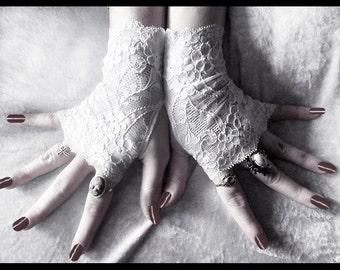 Frost Blossom Lace Fingerless Gloves - Snow White Floral - Gothic Vampire Regency Tribal Belly Dance Austen Wedding Romantic Bridal Fetish