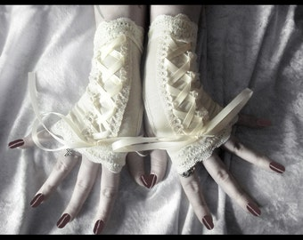 Ethereal Vespers Victorian Corset Laced Up Fingerless Gloves - Ivory Cream Lace - Vampire Lolita Gothic Belly Dance Tribal Bridal Boho Goth
