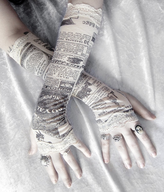 Gossip Society Arm Warmers - Victorian Newspaper Print - Ivory Cream Black & Lace - Gothic Steampunk Noir Yoga Romantic Lolita Goth Bohemian
