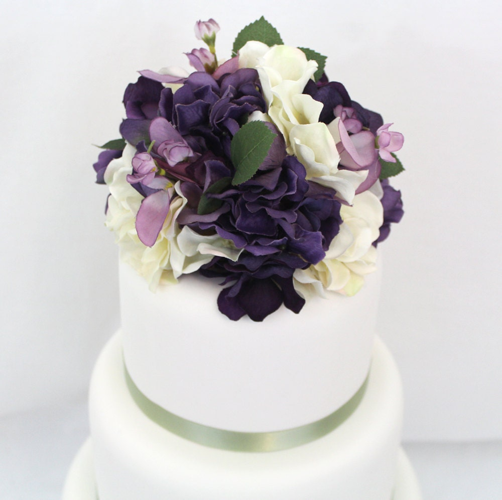 artificial flower wedding cake toppers wedding cake topper purple ivory hydrangea silk flower cake 10843