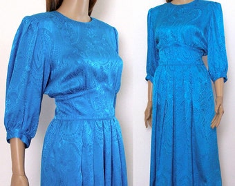 Vintage 1980s Dress Silk Jacquard Blue Turquoise Dress / Small
