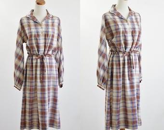 Vintage Plaid Dress, Metallic Brown Blue Dress, Shirtwaist Dress, Long Sleeve Dress, Collared Dress,  Bust 42 XL