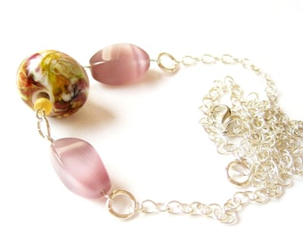 Sterling Lampwork Necklace, Sterling Silver Chain, Mauve Glass Beads, Pink Necklace, Borosylicate, Golden Yellow, Luminous Pastel Beads