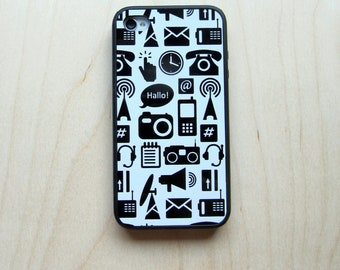 Rubber Case for iPhone 4 / iPhone 4S, Communication Pictographs, Black on White Pattern
