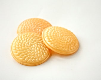 Three Large Vintage Buttons -  1950s- 1960s Yellow Textured Plastic Buttons - New Old Stock Buttons - Shimmery Golden Buttons