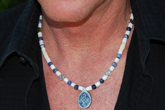 Celtic Cutie - 20 Inch Handcrafted Gemstone Necklace - Bone, Pewter, Sea Shell & Sodalite - SGArtCA - Tribal Chic Jewelry
