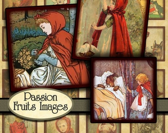 Antique Little Red Riding Hood Illustrations digital collage sheet- 1 inch square inchies-- Instant Download