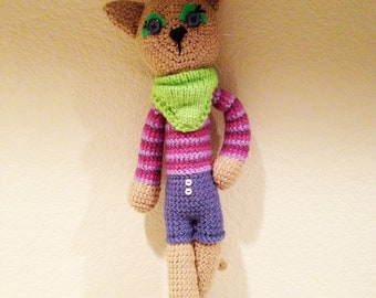 Amigurumi Crochet Cat, Hipster Kitty Made To Order