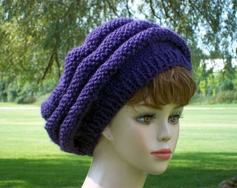 Slouch Hat Women Knit Honeycomb Style Purple Slouchy Beret