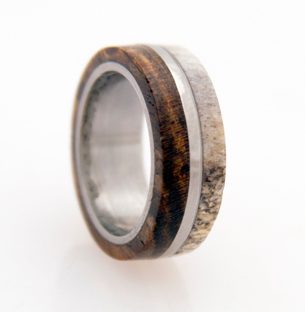 ring with wood bocote deer antler band zoom - Deer Antler Wedding Rings