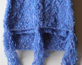 Blue Scarf Bulky Long Scarves, Knitted Chunky Cotton Acrylic Accessories, Unisex Hand Knit Winter Scarves, Holiday Gifts