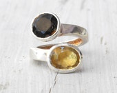 Gemstone Ring, Sterling Silver Citrine & Smoky Quartz Twist Ring, Cocktail Statement Ring, Multi Gemstone Fine Jewelry, Unique Gift For Her