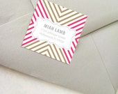 As seen on HGTV Magazine - On Sale Personalized Square Chevron Address Labels/Bookplate