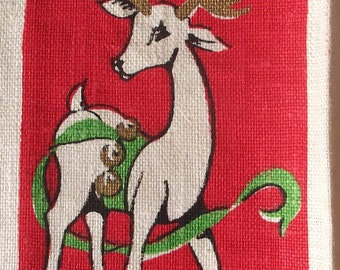 Linen Christmas Towels  PAIR by Parisian Prints w Reindeer Xmas Tree and more