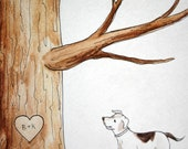 Pet cat dog, Wedding Tree Guest Book add-on . Original thumb print Water Color Illustration- Add your Pet, cat, dog