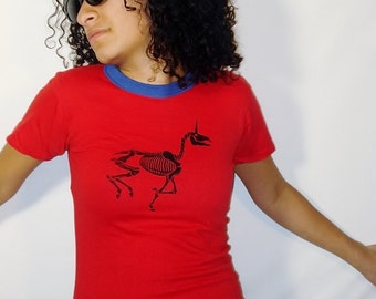 SALE Zombie Unicorn on Vintage Reversible Royal Blue and Red T-Shirt - Youth Large