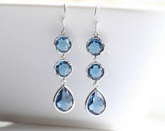 Blue Sapphire, silver, long, earrings - BLUE SAPPHIRE