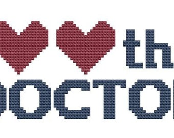 I Heart the Doctor cross stitch pattern pdf doctor who homage