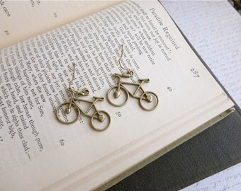 Antiqued brass adorable bicycle earrings, bike earrings, bike jewelry, Spokes, Gears, Handles, & Seats
