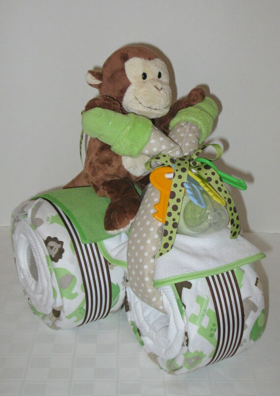 Diaper Caketricycle Trike Baby Shower Gift Jungle