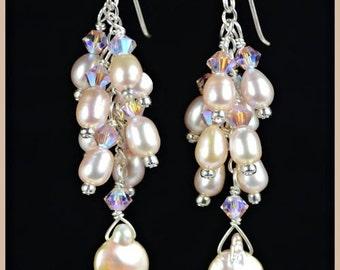 Elegant Champagne Pink Pearl Sterling Silver Cluster Earrings