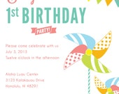 Custom Printable Pinwheel Party Birthday Invitation - Featured on Hostess with the Mostess