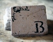 Personalized Coaster Set - Natural Tumbled Marble - Rustic Home Decor - Letter Initial, Monogram, Custom, Hand Painted Hostess Gift Handmade