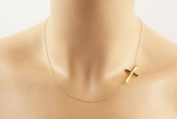 Gold Sideways Cross Necklace- 14K Gold Filled - Cross Necklace