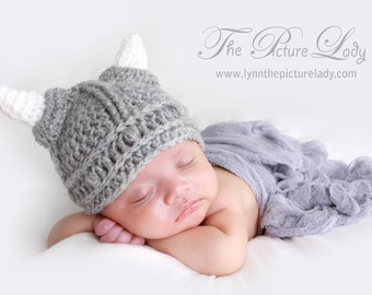 Baby Warrior Hat, Newborn Viking Hat, Baby Hat, Crochet Viking Hat, Newborn Photo Prop
