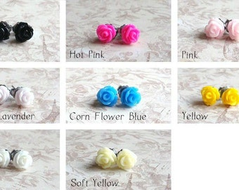 Tiny Rose Earrings,  TWO Pairs, Choose your colors (2), 6.4mm Roses